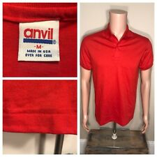 Vintage Anvil Brand Polo T-shirt Deadstock NOS Medium RED single Stitch USA made