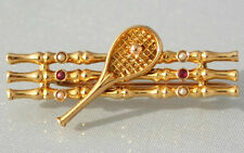 SUPERBA Antico Art Deco 18ct Gold Pearl & Ruby Racchetta da tennis e rete SPILLA c1915