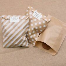25pcs Kraft Paper Bags Treat Candy Bag Chevron Polka Dot Bags Wedding Birthday N