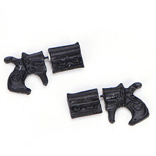 1Pair Fake Double Pistol Gun Shaped Faux Plug Stud Earrings for Women and Men WK