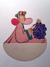 Vintage Bridge Game Tally Place Card -- Lady Holding Chinese Lantern