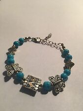 New Tibet silver AND TURQUOISE beadS WITH BUTTERFLY BRACELET-B407