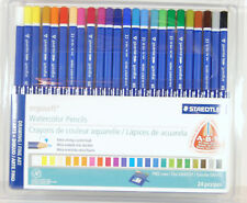 Staedtler Ergosoft Waterolor Pencils 24 Colors w Stand-up Easel Case German Made