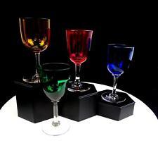 "VINTAGE ELEGANT GLASS 4 PIECE AMBER BLUE GREEN CRANBERRY 5"" WINE GLASSES 1930-"
