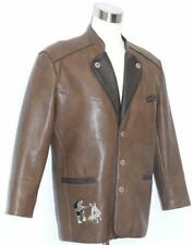 "Faux LEATHER Coat JACKET ~ BROWN German Men Hunting Western Shooting Ranch 46"" L"