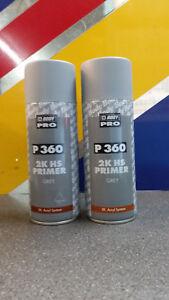 2 x HB Body 360 2K GREY Acrylic Car Filler Primer 400ml Aerosol - Top Quality