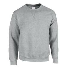 Mens Personalised Casual Classic Plain Pullover Sweatshirt Jumper Sweater Top Grey Marl S No Print