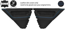 BLUE  STITCH 2X REAR DOOR CARD LEATHER COVERS FOR RENAULT 5 CAMPUS 3 DOOR