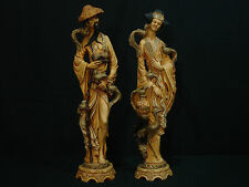 """Vintage Chinese Man and Woman Figurines Hand Carved Resin Statue 19"""" Tall"""