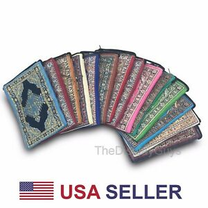 6pc Traditional Woven Metallic Handmade Zipper Wallet Pouches W Variety of Sizes
