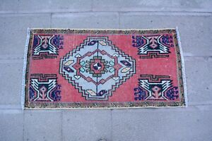 Unique small 1.6x3 Vintage Carpet Turkish Hallway Oushak Entryway Floor Old Rug