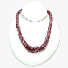 Faceted Genuine Ruby Bead Twisted Strand Necklace