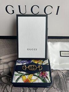 GUCCI 536353 Interlocking G Flora Print Compact Portemonnaie NEU BOX
