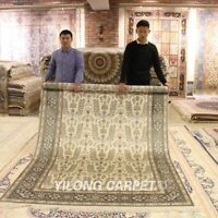 YILONG 6'x9' Bedroom Hand Knotted Carpet All Over Pattern Handmade Silk Rug J05B