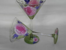HAND PAINTED PINK ROSES WITH FLORAL ACCENTS 10 OUNCE MARTINI GLASSES / SET OF 4
