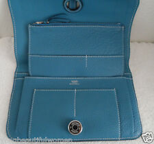 NEW AUTHENTIC HERMES TOGO Leather Dogon Long Wallet  Color Blue