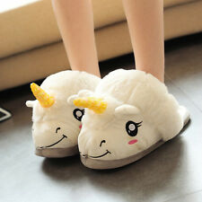 Men Women Plush Cute Unicorn Slippers Winter Warm Soft Home Indoor Shoes