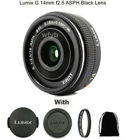 Lumix G 14mm f2.5 ASPH black Lens H-H014 for Panasonic mount-M4/3 With Filter