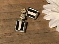 Recycled Broken Porcelain Jewelry, Black & White Striped Post Earrings