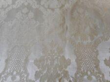 Vintage Floral Medallion Cartouche Ivory Cream Satin Jacquard Damask Fabric ~