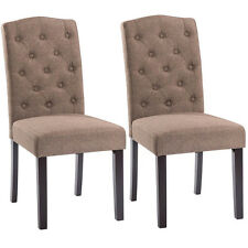 Set of 2 Linen Fabric Wood Accent Dining Chair Tufted Modern Living Room Brown