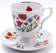 Large Mug w/Saucer White Porcelain Flowers Made in Dulevo Russia