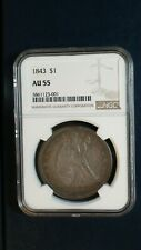 1843 Seated Dollar NGC AU55 ABOUT UNCIRCULATED Silver $1 Coin Start At 99 Cents!