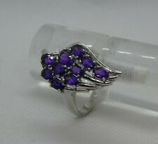 925 Silver & Amethyst 'wing' ring  size L 1/2   5.2g