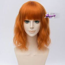 35CM Lolita Harajuku Short Curly Orange Heat Resistant Hair Cosplay Wig +Wig Cap