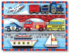 Melissa & Doug Vehicles Wooden Chunky Puzzle - Plane Train Cars and Boats 9pcs