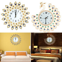 Home Large Peacock Luxury Diamond Wall Mounted Metal Clock Living Room Art Decor