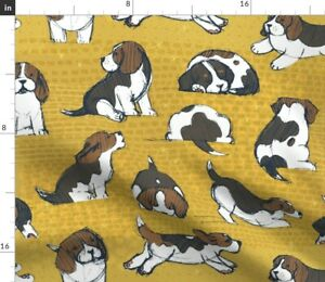 Beagle Puppies Dogs Puppy Animal Cute Baby Pet Spoonflower Fabric by the Yard