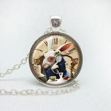 Vintage Rabbit Cabochon Tibetan silver Glass Chain Pendant necklace for women