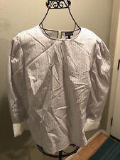 NWT Who What Wear Womens Plus Size Blue White Brown Stripe Dress Shirt Size 1X