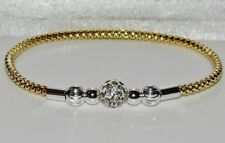 9ct Yellow Gold on Silver Crystal Ball Expandable Ladies Bangle