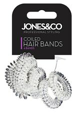 6 pack clear Telephone Cord Hair Coil Bobbles Bands ties stretchy