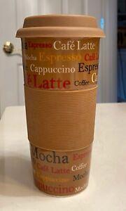 Century Ceramic 12 oz Mocha Tumbler Travel Mug Coffee Cup w/ Silicon Grip & Lid