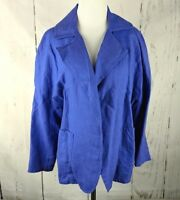 Women's CHICO'S Sz 3 Blue Linen Jacket 3/4 Sleeve Open Front Blazer