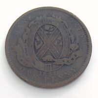 1837 Bank Token One 1 Penny Circulated Canada Copper Coin Province Du Bas H930