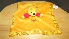 Disney Winnie the Pooh plush jingle rattle Baby security Blanket satin trim knit