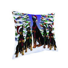 Have a Holly Jolly Holidays Doberman Pinscher Dog Throw Pillow Pil1664 (14x14)