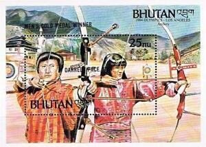 👉 BHUTAN 1986 OLYMPIC GAMES WINNERS  S/S MNH  ARCHERY, NATIVE COSTUMES