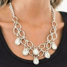 Paparazzi Show-stopping Shimmer White Teardrop Silver Necklace & Earrings Set