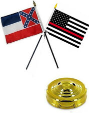 "Mississippi State & USA Fire Red 4""x6"" Flag Desk Set Table Stick Gold Base"