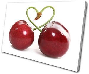 Food Kitchen Fruit Cherry Heart SINGLE CANVAS WALL ART Picture Print VA