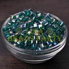 25pcs 6mm Cube Square Faceted Crystal Glass Loose Spacer Beads Peacock Green AB