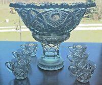 Lovely Antique ABPG Hobstar and Bullseye Punch Bowl on Pedestal w 6 Cups