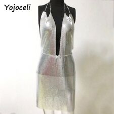 SEXY SEQUIN CHAINMAIL METAL SILVER DRESS PARTY CLUB WEAR UK 8-10 - UK SELLER