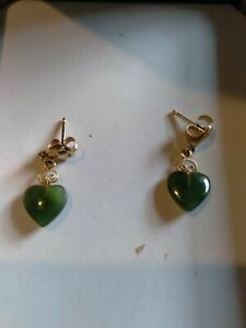 14K Yellow Gold Bail VINTAGE Jade Dangle Earrings