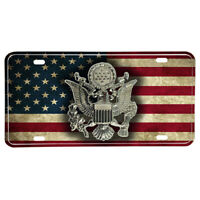 United States Army Hat Emblem on Subdued American Flag Aluminum License Plate